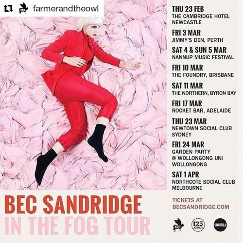 This! This is going to be 💯 Tickets on sale now via northcotesocialclub.com  #Repost @farmerandtheowl ・ ・ ・ To celebrate the release of our gal @becsandridge's 'In The Fog' EP (OUT TODAY💕), she's heading out on a huge Australian tour!! Here's you chance to hear all her new tracks live 💕💕💕