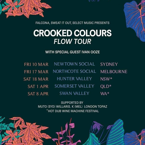 Tickets to see electronic trio Crooked Colours launch their new single 'Flow' are moving much like the track and gliding their way out the door pretty darn quickly. Grab yours now via http://bit.ly/2kl5WoP #livemusic #electronic #australianmusic #melbournemusic #northcotesocialclub