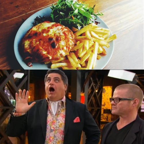 Jugs of Carlton Draught, $15. Chicken or eggplant parma wtih chips and salad, $15. The face of Matty P when he took a bite out of one of these beauties, priceless. #mondaynightspecial