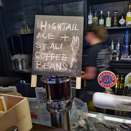 Bring 'round the Delorean and call us Doc Brown because we've gotten our mad scientist on.. behold coffee infused beer! Ft Mountain Goat's Hightail Ale, any lover of a good bev or cuppa Joe needs to give this a go. 🍻☕