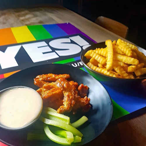 Chicken tenders? Yes. Chips? Yes. Putting up more marriage equality posters so we make sure the message sinks in, especially into those reaaally thick skulls? Hell yes. 👊