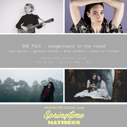 Our springtime matinee series continues this weekend as Leah Senior, Georgia Fields, Anna Cordell and Charm of Finches join us for a rare and intimate songwriters-in-the-round event. If you're an avid songwriter or simply a fan of great music, this is for you! Tickets on sale now via the website - link in bio.