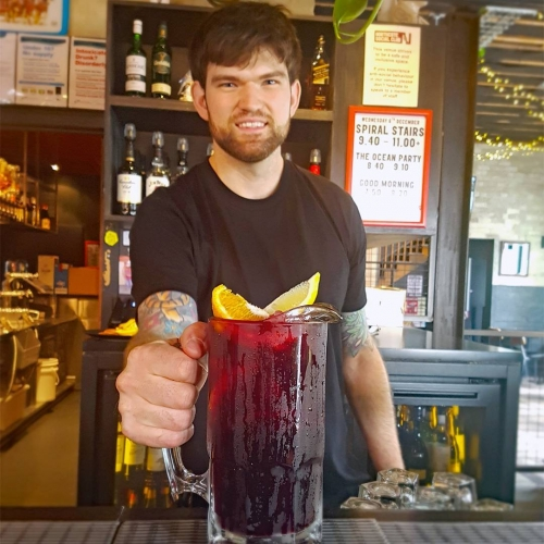 Grant Theft Auto serving up Italian sangria goodness to you tonight ft. red wine, Tuaca, blackberry syrup, cranberry juice, orange and lemon. 👌  Now that's a-goddamn-more if we ever did taste it.