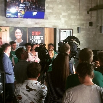 NSC turns press room for Alex Bhathal and a strong Greens contingent! Pub👏of👏the👏people👏