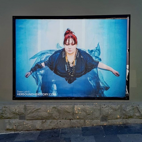 Hip-hop legend Dawn Laird next up repping #HerSoundHerStory on the side of the pub! Go and see it ASAP, local screening times available at hersoundherstory.com. 👊