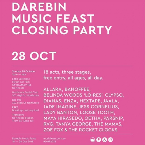 JUST ANNOUNCED: We're hosting a CRAZY line-up for this year's Darebin Music Feast closing party! Set across three stages including ours, one at Bar 303 and an outdoor stage our in the car park. PLUS it's free entry. 😲