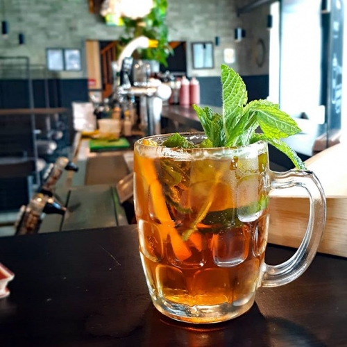 Pimm's mugs are on this arvo! It's got cucumber and orange in it too so there ya go, that's pretty much knocking out one serving each of fruit and veg as well.