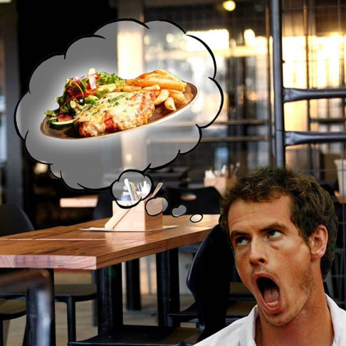 Yeah alright so Andy Murray's bummed about having to leave tennis but look how bloody stoked he is about $15 parma night. Highlight of his Aussie trips year in, year out.