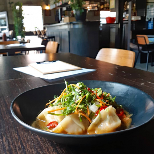 Pork gyoza with pickled daikon and miso dressing going down a treat this arvo!  Now up for grabs on this week's lunch specials menu, head to our website to check out the full thing now.