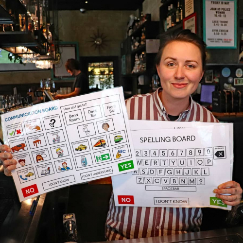 Ordering assistance cards are available here at the pub! Now stationed at each bar throughout the venue.