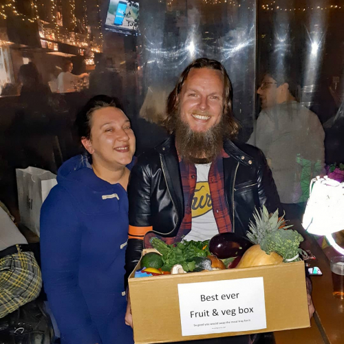 Shiny, happy fruit box** winners from a Friday raffle gone by. This could be you! Tickets with happy hour drinks 5-7pm, winners drawn in the front bar.  Meat tray also up for grabs.