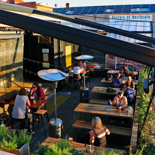 Golden hour overlooking the picturesque inner-suburban paradise of Northcote.  Happy hour drinks 'til 7pm, meat + veg raffle tickets with each drink. Doesn't get much bloody better.