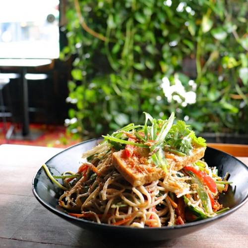 SEND NOODS; Soba noodle salad with sesame dressing getting the job done on this week's lunch specials menu.