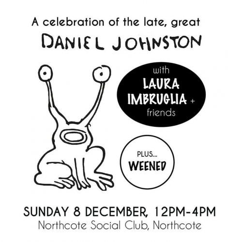 This Sunday! @lauraimbruglia and mates celebrating the wonderful music of Daniel Johnston.  Gonna be a hell of an arvo, tickets on sale now at northcotesocialclub.com